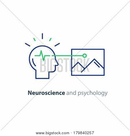 Neuroscience logo, psychology concept icon, artificial intelligence, creative thinking, optical illusion, memory functioning, vector line design
