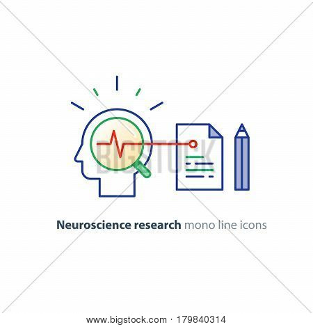 Neuroscience research, brain work study, psychology education concept, vector icon