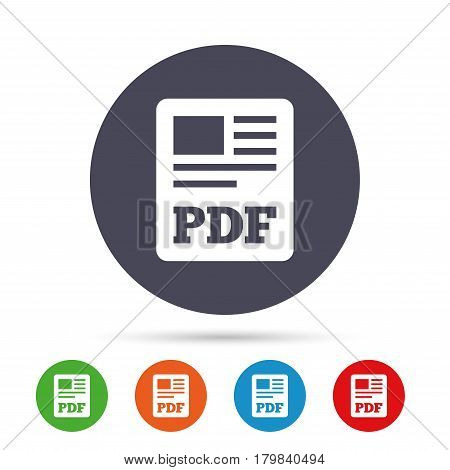 PDF file document icon. Download pdf button. PDF file symbol. Round colourful buttons with flat icons. Vector