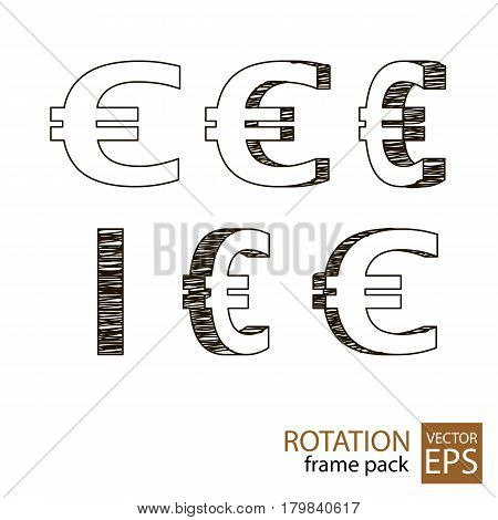 Euro sign rotating icon set of frames for animation