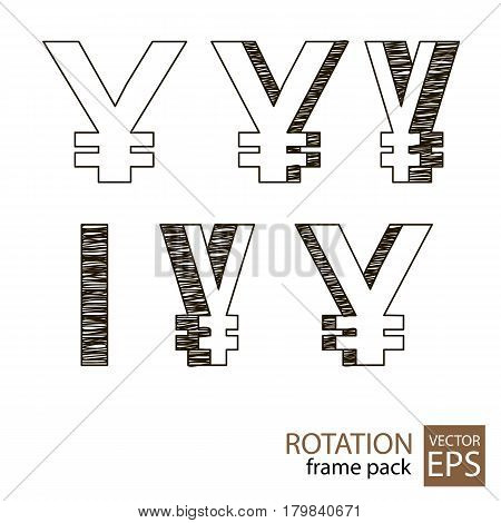 Yen sign rotating icon set of frames for animation