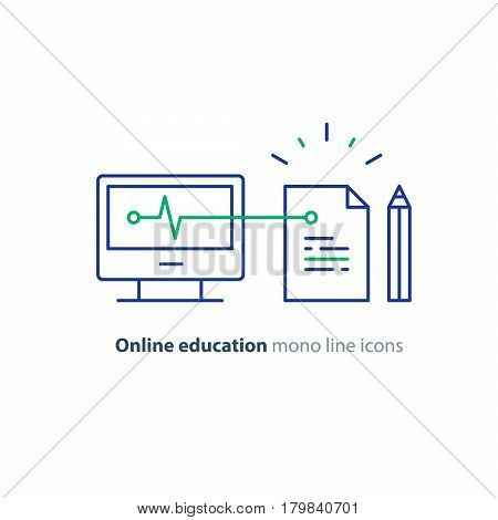 Online education concept, writing assignment, vector mono line icon