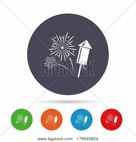 Fireworks with rocket sign icon. Explosive pyrotechnic symbol. Round colourful buttons with flat icons. Vector