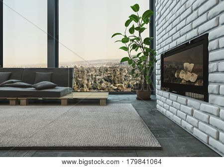 Modern upmarket living room interior with an unlit fire insert in a textured feature brick wall and sofa on a designer pallet in front of view windows, 3d rendering