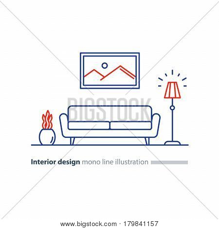 Living room interior design, sofa and floor lamp, picture and plant pot, minimalist style, vector mono line illustration