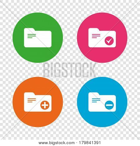 Accounting binders icons. Add or remove document folder symbol. Bookkeeping management with checkbox. Round buttons on transparent background. Vector