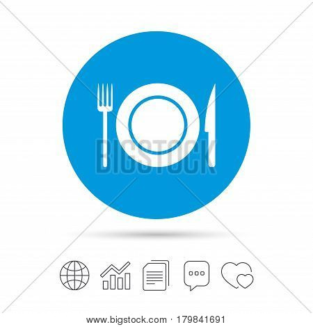 Food sign icon. Cutlery symbol. Knife and fork, dish. Copy files, chat speech bubble and chart web icons. Vector