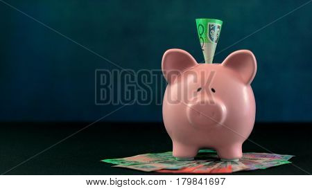 Pink Piggy Bank Money Concept On Dark Blue Background