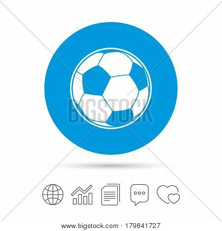 Football ball sign icon. Soccer Sport symbol. Copy files, chat speech bubble and chart web icons. Vector
