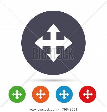 Fullscreen sign icon. Arrows symbol. Icon for App. Round colourful buttons with flat icons. Vector