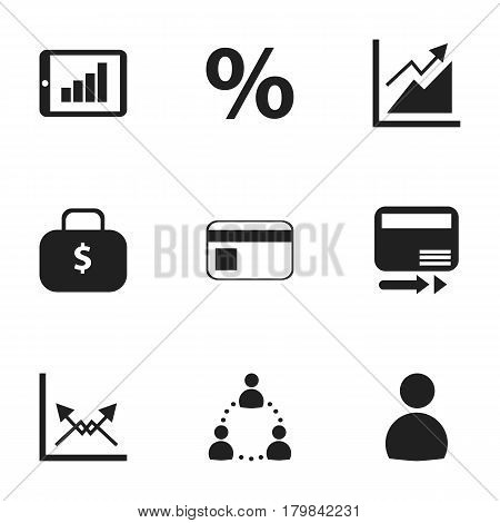 Set Of 9 Editable Logical Icons. Includes Symbols Such As Money Bag, Percent, Pay Redeem And More. Can Be Used For Web, Mobile, UI And Infographic Design.
