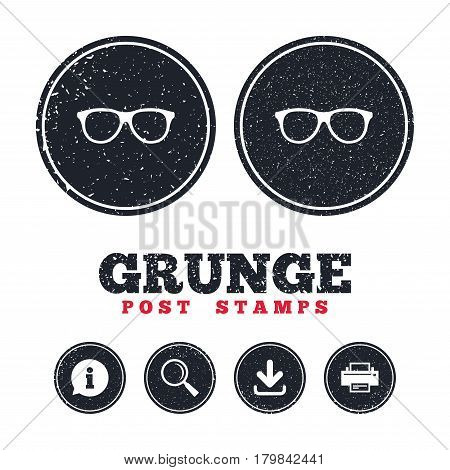Grunge post stamps. Retro glasses sign icon. Eyeglass frame symbol. Information, download and printer signs. Aged texture web buttons. Vector