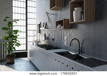3D Rendering scene with large kitchen sink and cabinet. Light coming through window with frosted panes.