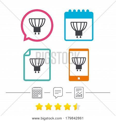 Light bulb icon. Lamp GU10 socket symbol. Led or halogen light sign. Calendar, chat speech bubble and report linear icons. Star vote ranking. Vector