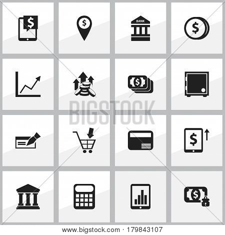 Set Of 16 Editable Financial Icons. Includes Symbols Such As Coins Raise, Edifice, Exchange Center And More. Can Be Used For Web, Mobile, UI And Infographic Design.