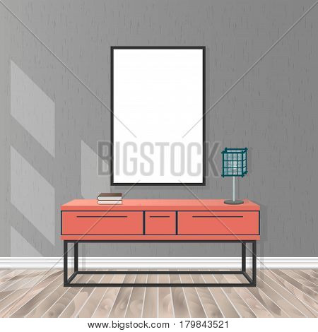 Mockup living room interior in hipster style with empty frame bureau lamp parquet flooring concrete wall and sunlight from the window. Loft design concept. Vector illustration.