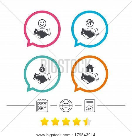 Handshake icons. World, Smile happy face and house building symbol. Dollar cash money bag. Amicable agreement. Calendar, internet globe and report linear icons. Star vote ranking. Vector