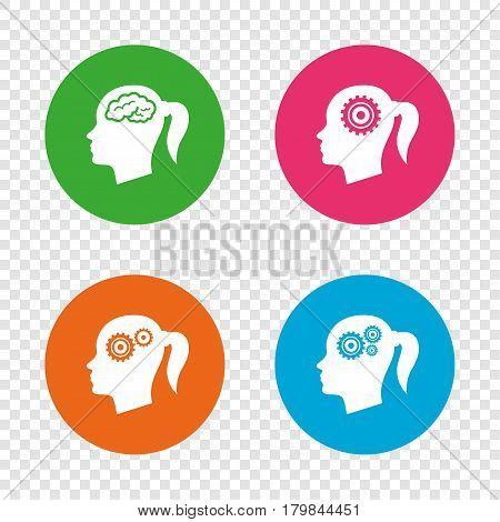Head with brain icon. Female woman think symbols. Cogwheel gears signs. Round buttons on transparent background. Vector