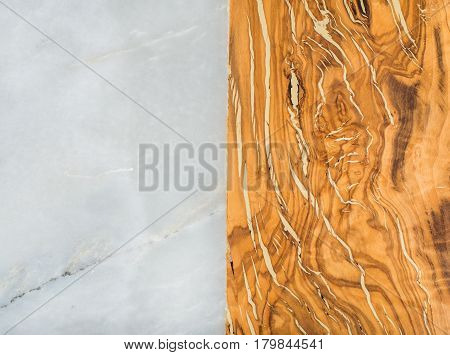 Grey marble natural stone and olive wood rustic combined background