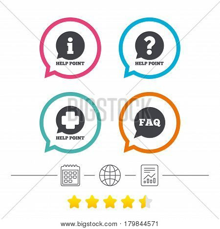 Help point icons. Question and information symbols. FAQ speech bubble signs. Calendar, internet globe and report linear icons. Star vote ranking. Vector