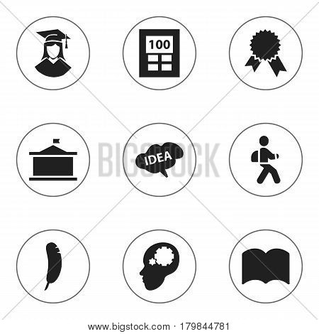 Set Of 9 Editable Education Icons. Includes Symbols Such As Calculator, Mind, Disciple And More. Can Be Used For Web, Mobile, UI And Infographic Design.