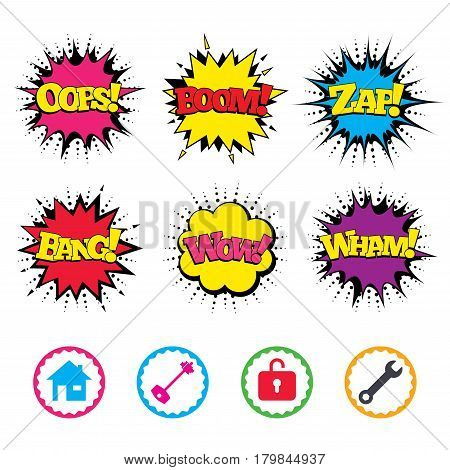 Comic Wow, Oops, Boom and Wham sound effects. Home key icon. Wrench service tool symbol. Locker sign. Main page web navigation. Zap speech bubbles in pop art. Vector