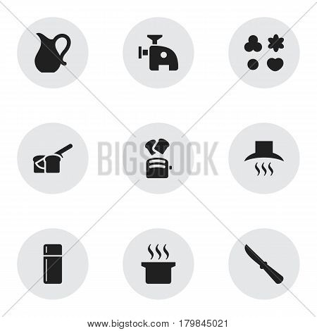 Set Of 9 Editable Food Icons. Includes Symbols Such As Kitchen Hood, Jug, Meat Grinder And More. Can Be Used For Web, Mobile, UI And Infographic Design.