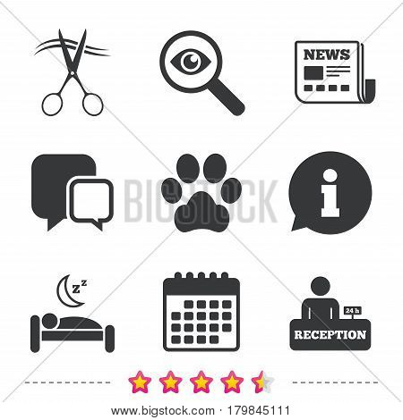Hotel services icons. With pets allowed in room signs. Hairdresser or barbershop symbol. Reception registration table. Quiet sleep. Newspaper, information and calendar icons. Vector