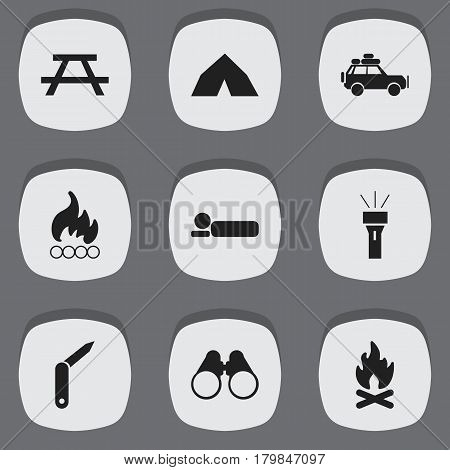 Set Of 9 Editable Travel Icons. Includes Symbols Such As Voyage Car, Lantern, Field Glasses And More. Can Be Used For Web, Mobile, UI And Infographic Design.