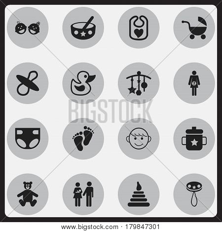 Set Of 16 Editable  Icons. Includes Symbols Such As Lineage, Adorn, Nappy And More. Can Be Used For Web, Mobile, UI And Infographic Design.