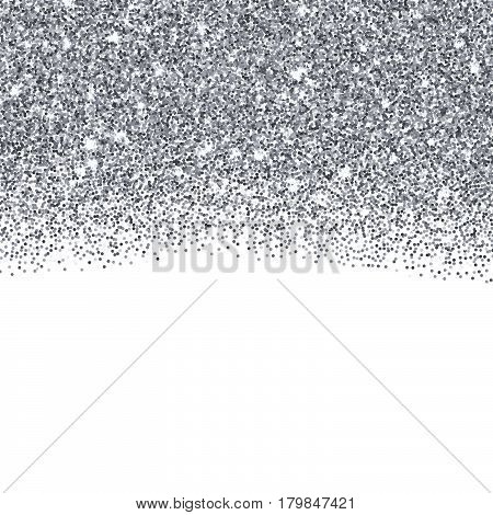 Silver glitter texture border over white background. Abstract silver sparkles of confetti. Vector illustration with room for your text.