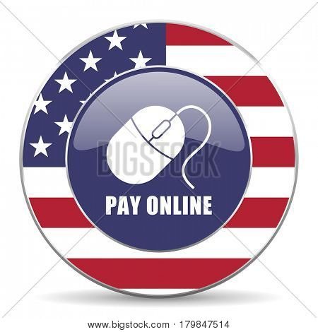 Pay online usa design web american round internet icon with shadow on white background.