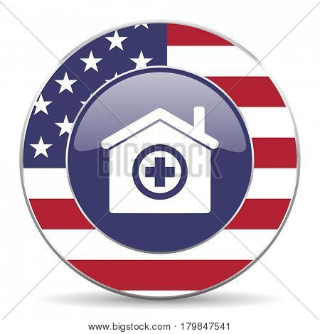 Hospital usa design web american round internet icon with shadow on white background.