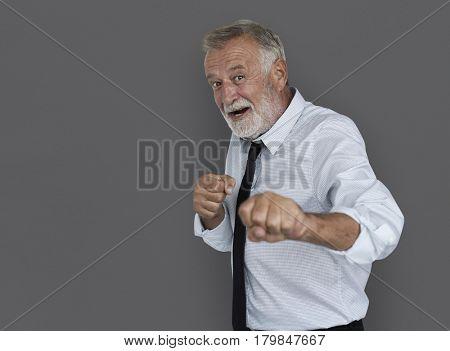 Caucasian Business Man Playful Fighting