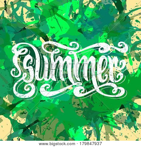 Hand drawn textured word Summer over bright green artistic paint splashes.