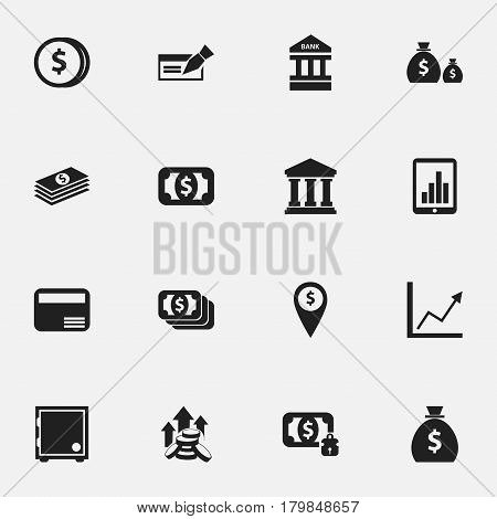 Set Of 16 Editable Investment Icons. Includes Symbols Such As Treasure, Currency, Money Card And More. Can Be Used For Web, Mobile, UI And Infographic Design.