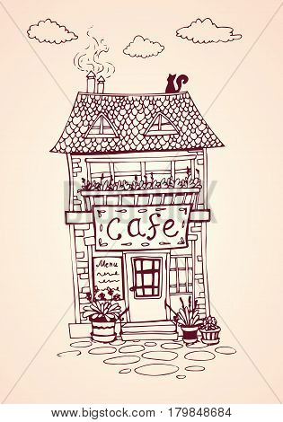 Cozy vintage street cafe house. European architecture. Hand drawn Vector Illustration. For print and decoration.