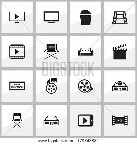Set Of 16 Editable Cinema Icons. Includes Symbols Such As Film Glasses, Theater Agency, Shooting Seat And More. Can Be Used For Web, Mobile, UI And Infographic Design.