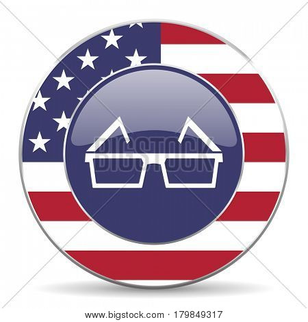 3d glasses usa design web american round internet icon with shadow on white background.