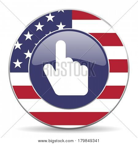 Hand, cursor usa design web american round internet icon with shadow on white background.