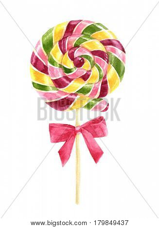 Bright watercolor lollipop with bow on white background