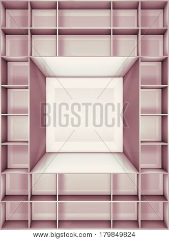 3D illustration of empty furniture on the department store
