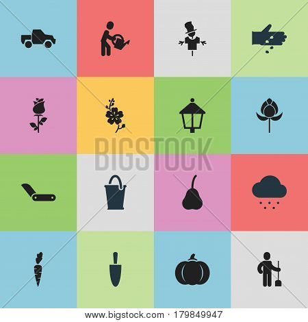 Set Of 16 Editable Planting Icons. Includes Symbols Such As Bucket, Streetlight, Van And More. Can Be Used For Web, Mobile, UI And Infographic Design.