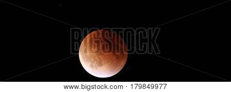 Panoramic image of the Total Lunar Eclipse of a (Super-moon) Blood moon on 9,27,2015.
