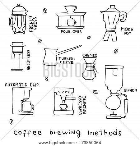 Hand drawn vector illustration of coffee brewing methods. French press, moka pot, pour over, siphon, automatic drip, turkish cezve, aeropress, chemex, espresso machine. Equipments for coffee shop.