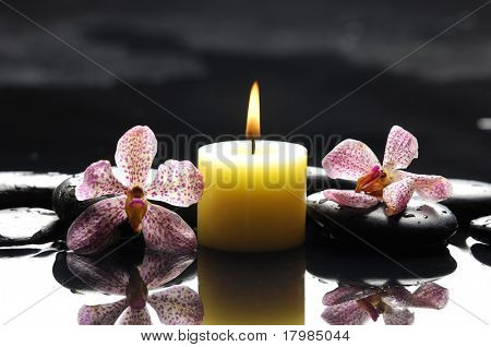 spa scene -burning spa candles with pink orchid and stones