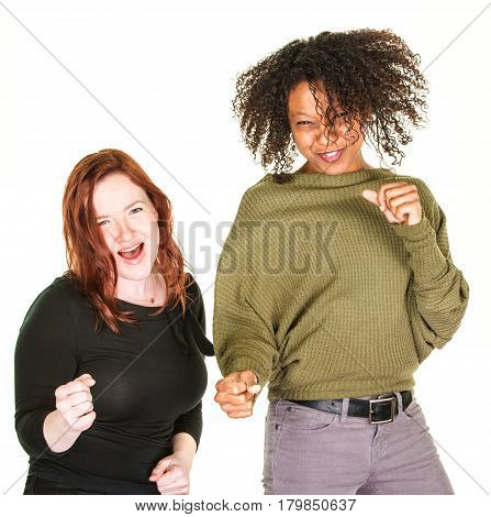 Two Excited Women Dancing