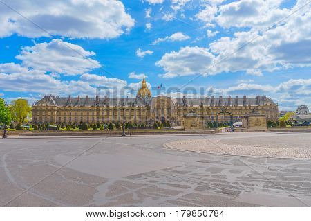 Place des Invalides square with the view on The Army Museum in Paris, France.