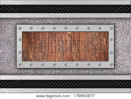 Metal Texture Background With Wood Inserts For Design, Illustration, 3D