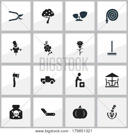 Set Of 16 Editable Planting Icons. Includes Symbols Such As Farm Tool, Plant Cutter, Garden Seat And More. Can Be Used For Web, Mobile, UI And Infographic Design.